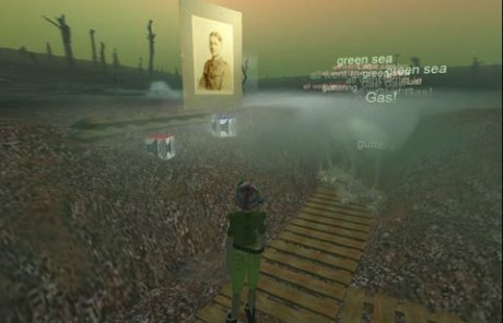 A scene from the University of Oxford's First World War re-creation in Second Life. The visitor is able to walk around in the trenches; the cubes with a loudspeaker symbol on them enable playback of audio material such as poetry readings and interviews. Photo courtesy of First World War Poetry Digital Archive.